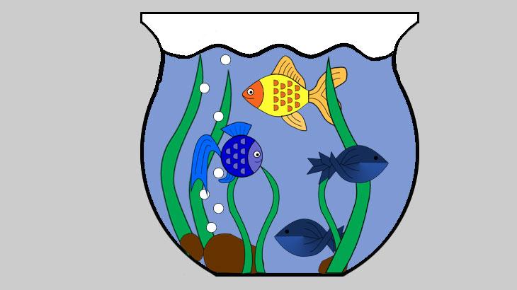 Аппликация рыбки и аквариум
