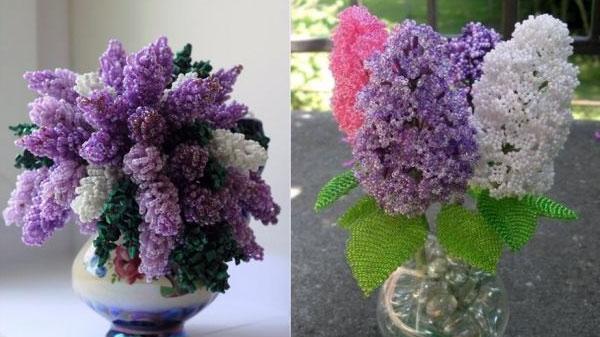 Цветы сирени из бисера
