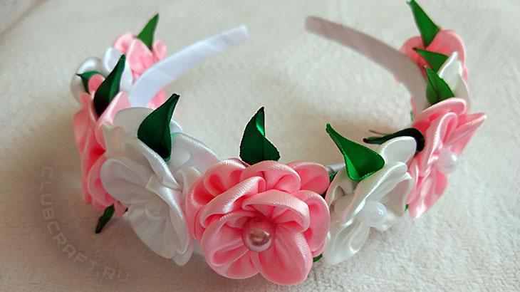 Украшаем ободок цветами в технике канзаши