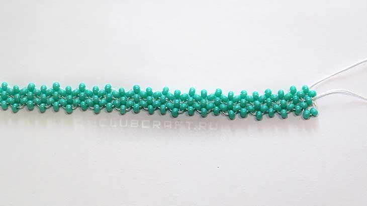 Плоский двухъярусный браслет из бисера «Бирюза»