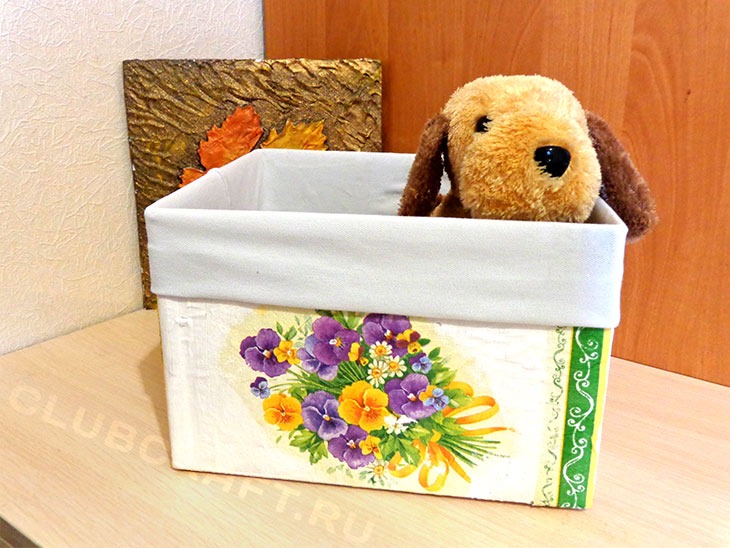 Украшаем коробку для хранения — деупаж салфеткой