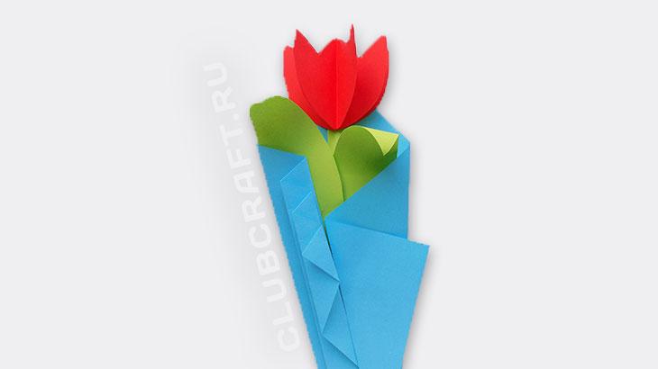 Аппликация цветок из бумаги
